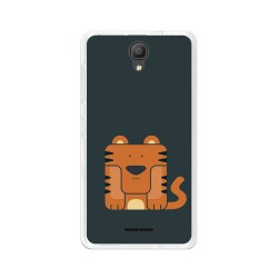 "Funda Gel Tpu para Alcatel Pixi 4 (5"") 3G Diseño Tigre Dibujos"