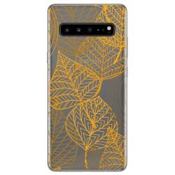 Funda Gel Transparente para Samsung Galaxy S10 5G diseño Hojas Dibujos