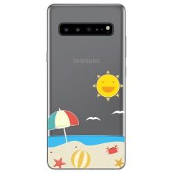 Funda Gel Transparente para Samsung Galaxy S10 5G diseño Playa Dibujos