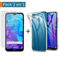 Pack 2 En 1 Funda Gel Transparente + Protector Cristal Templado para Huawei Y5 2019