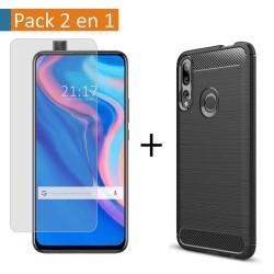 Pack 2 En 1 Funda Gel Tipo Carbono + Protector Cristal Templado para Xiaomi Huawei P Smart Z