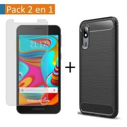 Pack 2 En 1 Funda Gel Tipo Carbono + Protector Cristal Templado para Samsung Galaxy A2 Core