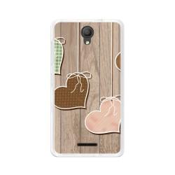 "Funda Gel Tpu para Alcatel Pixi 4 (5"") 3G Diseño Corazones Madera Dibujos"