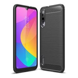 Funda Gel Tpu Tipo Carbon Negra para Xiaomi Mi 9 Lite