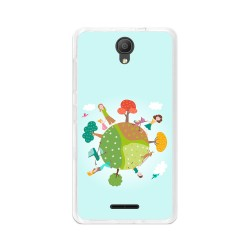 "Funda Gel Tpu para Alcatel Pixi 4 (5"") 3G Diseño Familia Dibujos"