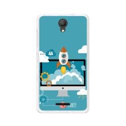 "Funda Gel Tpu para Alcatel Pixi 4 (5"") 3G Diseño Cohete Dibujos"