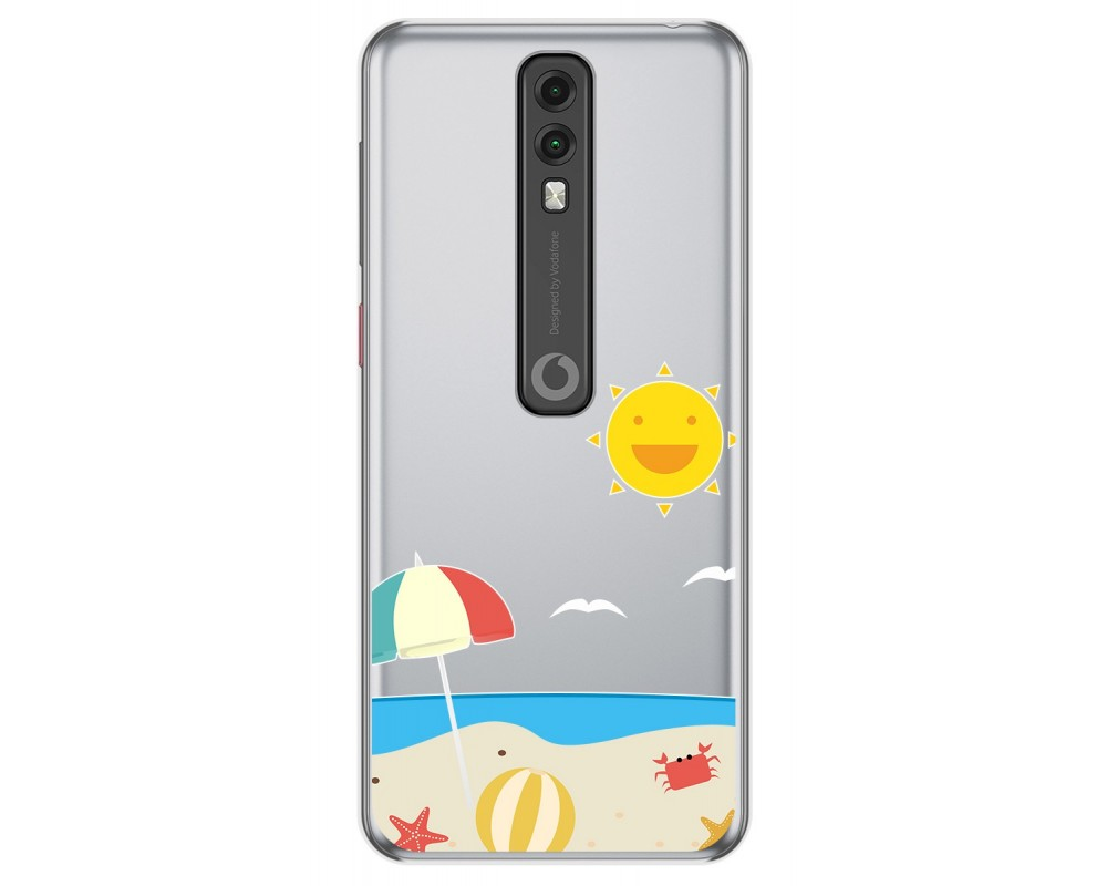 Funda Gel Transparente para Vodafone Smart V10 diseño Playa Dibujos