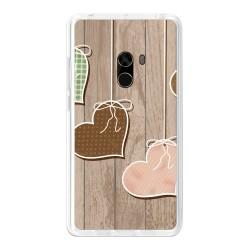 Funda Gel Tpu para Xiaomi Mi Mix Diseño Corazones Madera Dibujos