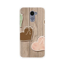Funda Gel Tpu para Xiaomi Redmi 4 Diseño Corazones Madera Dibujos