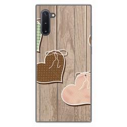 Funda Gel Tpu para Samsung Galaxy Note10 diseño Corazones Madera Dibujos
