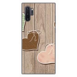 Funda Gel Tpu para Samsung Galaxy Note10+ diseño Corazones Madera Dibujos