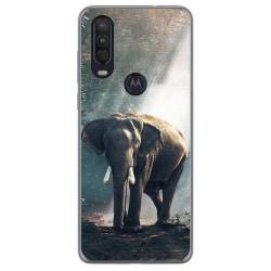 Funda Gel Tpu para Motorola One Action diseño Elefante Dibujos