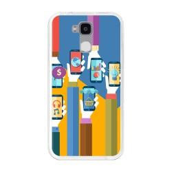 Funda Gel Tpu para Doogee Y6 / Y6C Diseño Apps Dibujos