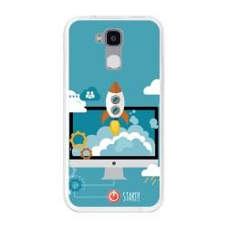 Funda Gel Tpu para Doogee Y6 / Y6C Diseño Cohete Dibujos