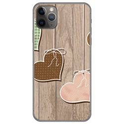 Funda Gel Tpu para Iphone 11 Pro (5.8) diseño Corazones Madera Dibujos