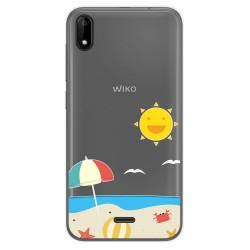 Funda Gel Transparente para Wiko Y50 diseño Playa Dibujos