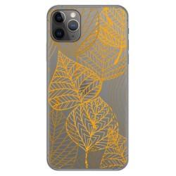 Funda Gel Transparente para Iphone 11 Pro Max (6.5) diseño Hojas Dibujos