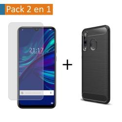 Pack 2 En 1 Funda Gel Tipo Carbono + Protector Cristal Templado para Huawei P Smart + Plus 2019