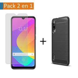 Pack 2 En 1 Funda Gel Tipo Carbono + Protector Cristal Templado para Xiaomi Mi A3