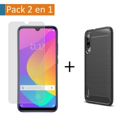 Pack 2 En 1 Funda Gel Tipo Carbono + Protector Cristal Templado para Xiaomi Mi 9 Lite