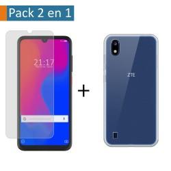 Pack 2 En 1 Funda Gel Transparente + Protector Cristal Templado para ZTE Blade A7 2019