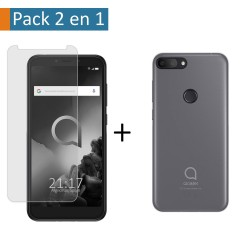 Pack 2 En 1 Funda Gel Transparente + Protector Cristal Templado para Alcatel 1S (2019)