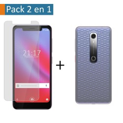 Pack 2 En 1 Funda Gel Transparente + Protector Cristal Templado para Vodafone Smart N10