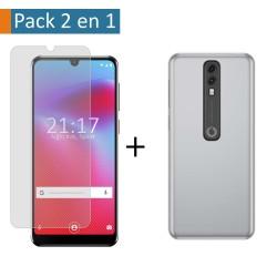 Pack 2 En 1 Funda Gel Transparente + Protector Cristal Templado para Vodafone Smart V10