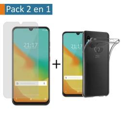 Pack 2 En 1 Funda Gel Transparente + Protector Cristal Templado para Zte Blade V10 Vita