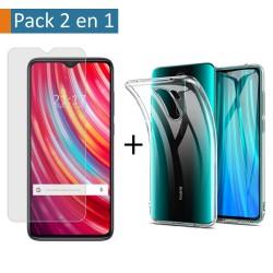 Pack 2 En 1 Funda Gel Transparente + Protector Cristal Templado para Xiaomi Redmi Note 8 Pro