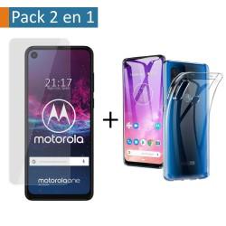 Pack 2 En 1 Funda Gel Transparente + Protector Cristal Templado para Motorola One Action