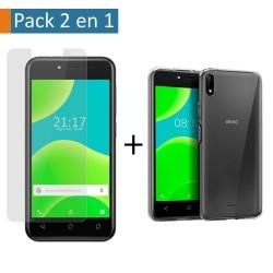Pack 2 En 1 Funda Gel Transparente + Protector Cristal Templado para Wiko Y50