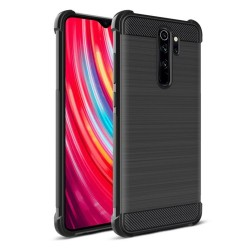 Funda Gel Tpu Anti-Shock Carbon Negra para Xiaomi Redmi Note 8 Pro