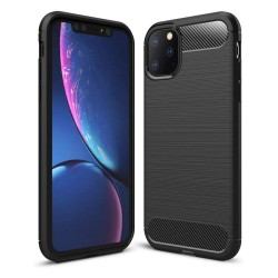 Funda Gel Tpu Tipo Carbon Negra para Iphone 11 Pro Max (6.5)
