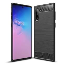 Funda Gel Tpu Tipo Carbon Negra para Samsung Galaxy Note10