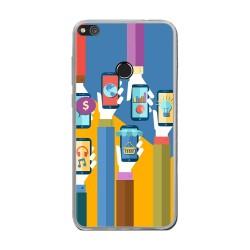 Funda Gel Tpu para Huawei P8 Lite 2017 Diseño Apps Dibujos
