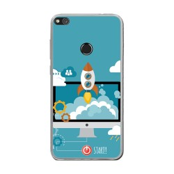 Funda Gel Tpu para Huawei P8 Lite 2017 Diseño Cohete Dibujos
