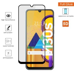Protector Cristal Templado Completo 5D Full Glue Negro para Samsung Galaxy M30s Vidrio