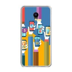 Funda Gel Tpu para Meizu M5 Note Diseño Apps Dibujos