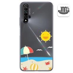 Funda Gel Transparente para Huawei Nova 5T / Honor 20 diseño Playa Dibujos