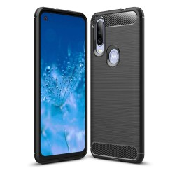 Funda Gel Tpu Tipo Carbon Negra para Motorola One Action
