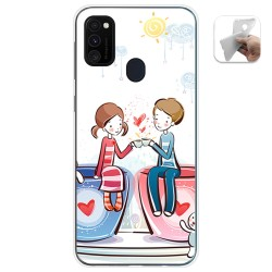 Funda Gel Tpu para Samsung Galaxy M30s / M21 diseño Café Dibujos