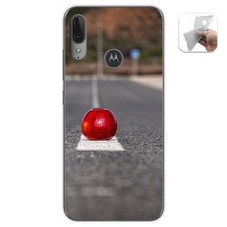 Funda Gel Tpu para Motorola Moto E6 Plus diseño Apple Dibujos