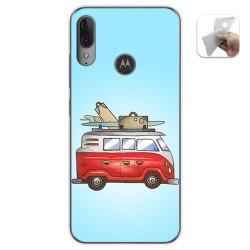 Funda Gel Tpu para Motorola Moto E6 Plus diseño Furgoneta Dibujos