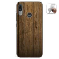 Funda Gel Tpu para Motorola Moto E6 Plus diseño Madera Dibujos