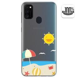 Funda Gel Transparente para Samsung Galaxy M30s diseño Playa Dibujos
