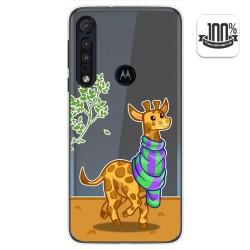 Funda Gel Transparente para Motorola One Macro diseño Jirafa Dibujos