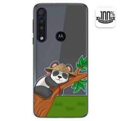 Funda Gel Transparente para Motorola One Macro diseño Panda Dibujos