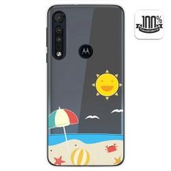 Funda Gel Transparente para Motorola One Macro diseño Playa Dibujos