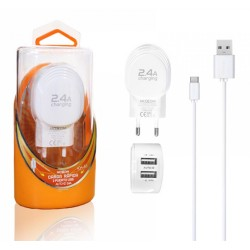 Cargador de Red + Cable USB Tipo C 2,4A Carga Rápida Marca Moxom
